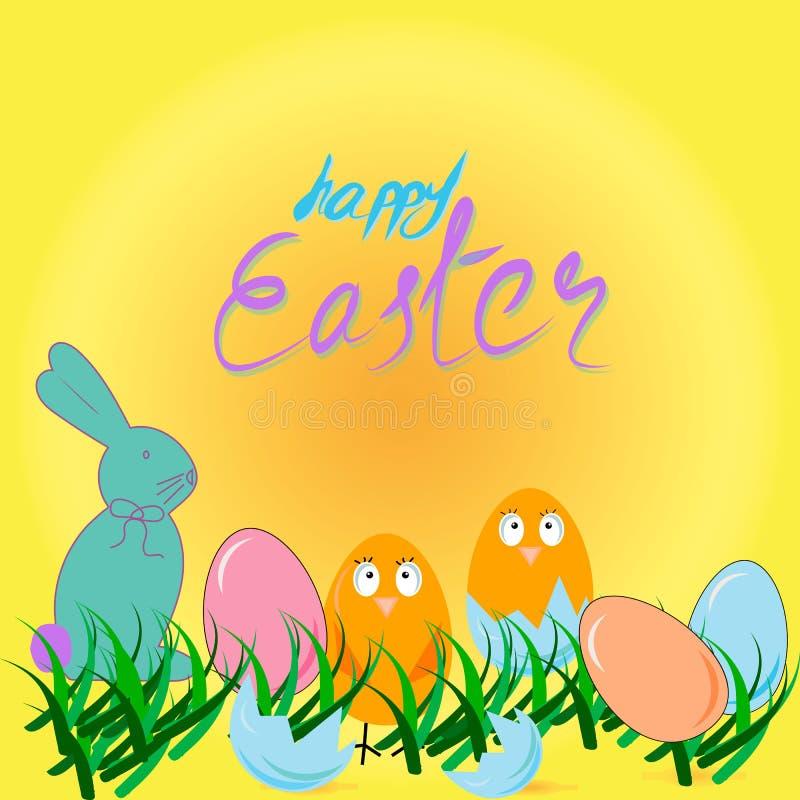 Szczęśliwa Wielkanocna karta z jajkami, trawą, kurczakami i królikiem, ilustracja wektor