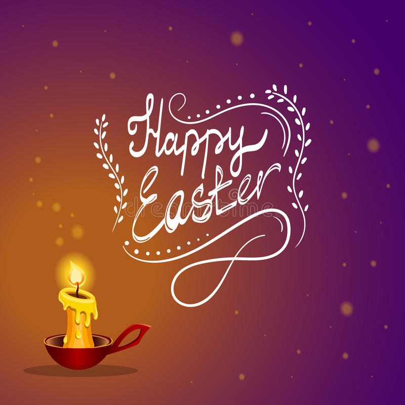 Szczęśliwa Wielkanocna karta z płonącą świeczką ilustracji