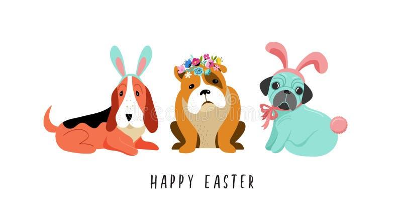 Szczęśliwa Wielkanocna karta z psami jest ubranym królików kostiumy, royalty ilustracja