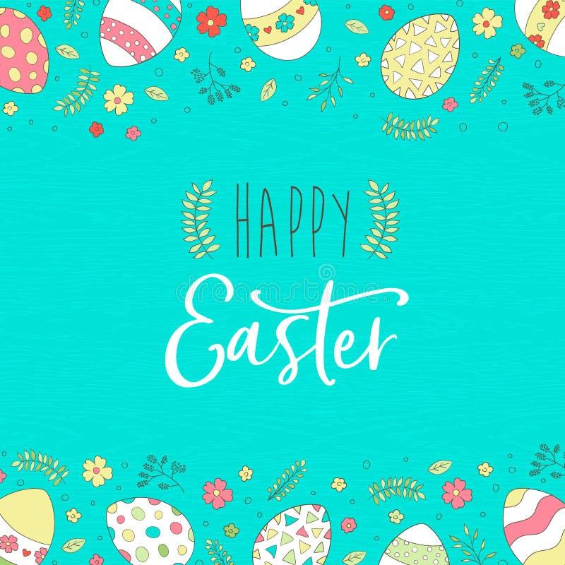 Szczęśliwa Wielkanocna kartka z pozdrowieniami z ślicznymi wiosen jajkami ilustracja wektor