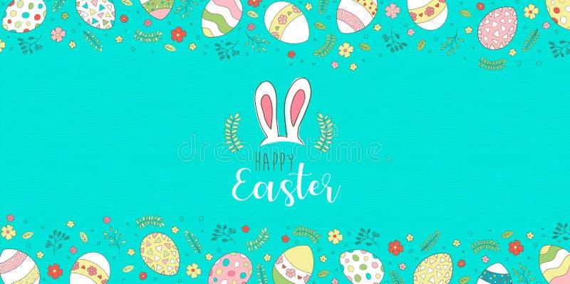 Szczęśliwa Wielkanocna kartka z pozdrowieniami z ślicznymi wiosen jajkami ilustracji
