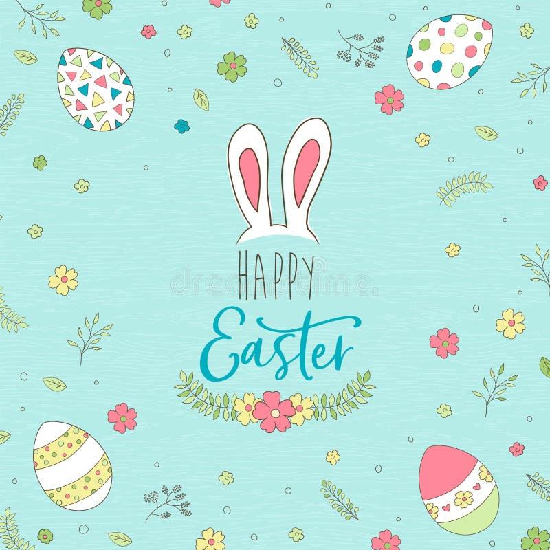 Szczęśliwa Wielkanocna kartka z pozdrowieniami z ślicznymi wiosen jajkami royalty ilustracja