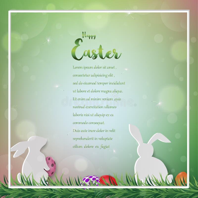 Szczęśliwa Wielkanocna kartka z pozdrowieniami, kolorowi jajka z królikami na bokeh tle dla wakacje, zaproszenie lub plakat, ilustracji