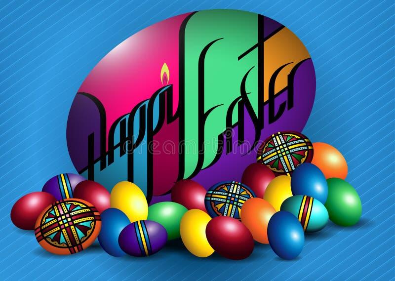 Szczęśliwa Wielkanocna Kolorowa strusia & kurczaka jajek mieszanka royalty ilustracja