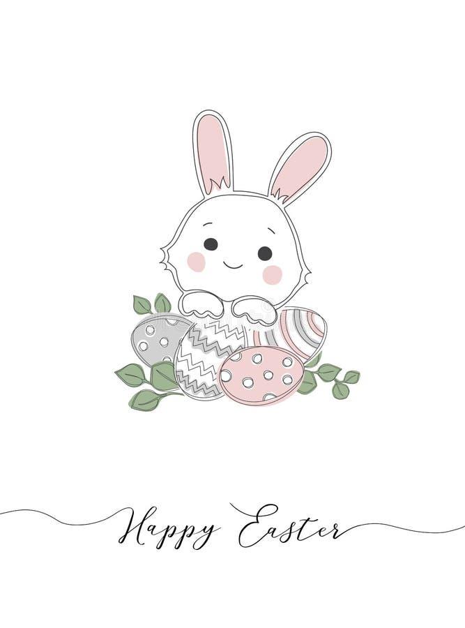 Szczęśliwa Wielkanocna ręka kreśląca karta, typografia Pisać list Szczęśliwą wielkanoc z królikiem dla kartki z pozdrow ilustracji