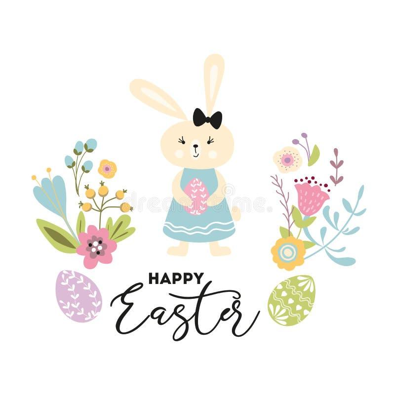 Szczęśliwa Wielkanocna ręka rysująca śliczna wektorowa ilustracja z królik dziewczyny jajkami, wiosna kwitnie na bielu ilustracja wektor