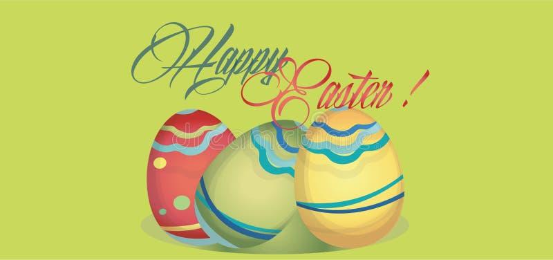 Szczęśliwa Wielkanocna wakacje karta z jajkami Sieć sztandar z Szczęśliwą wielkanocą zdjęcia stock