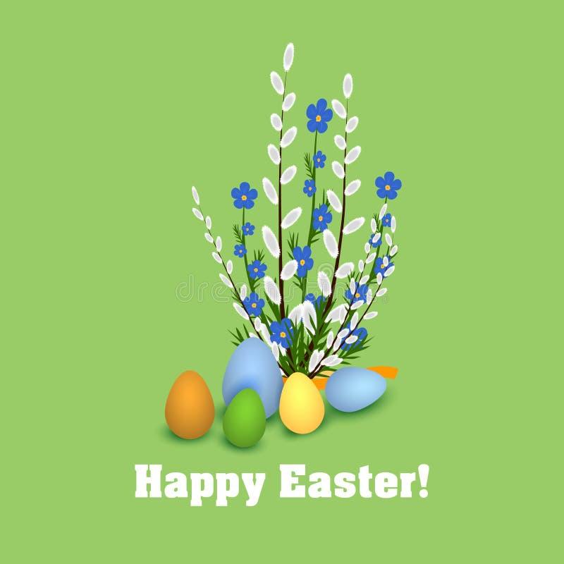 Szczęśliwa Wielkanocna wiązka wierzba i Easter jajka fotografia royalty free