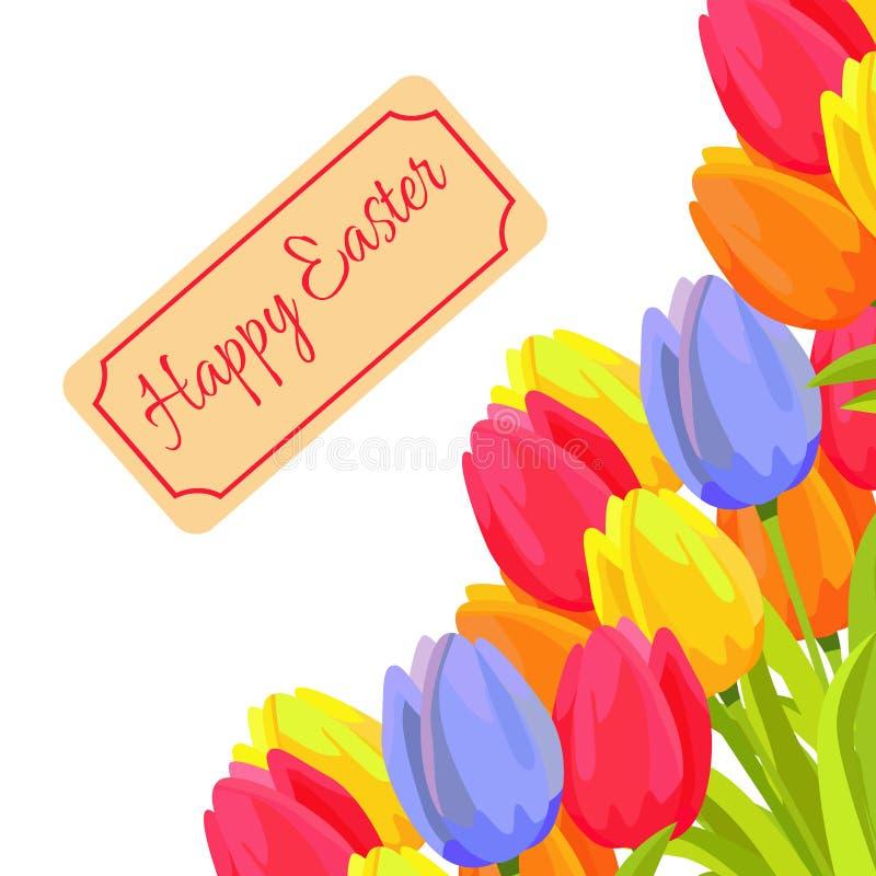 Szczęśliwa Wielkanocna wiosny pocztówka z tulipanami Wektorowymi royalty ilustracja