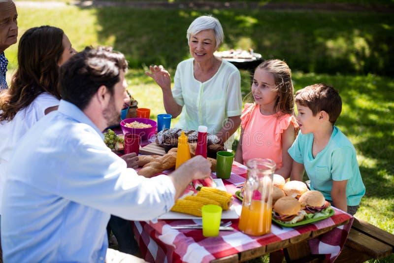 Szczęśliwa wielo- pokolenie rodzina ma posiłek na stole zdjęcia royalty free