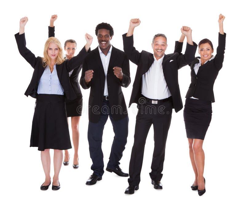 Szczęśliwa wielorasowa grupa ludzie biznesu zdjęcie stock