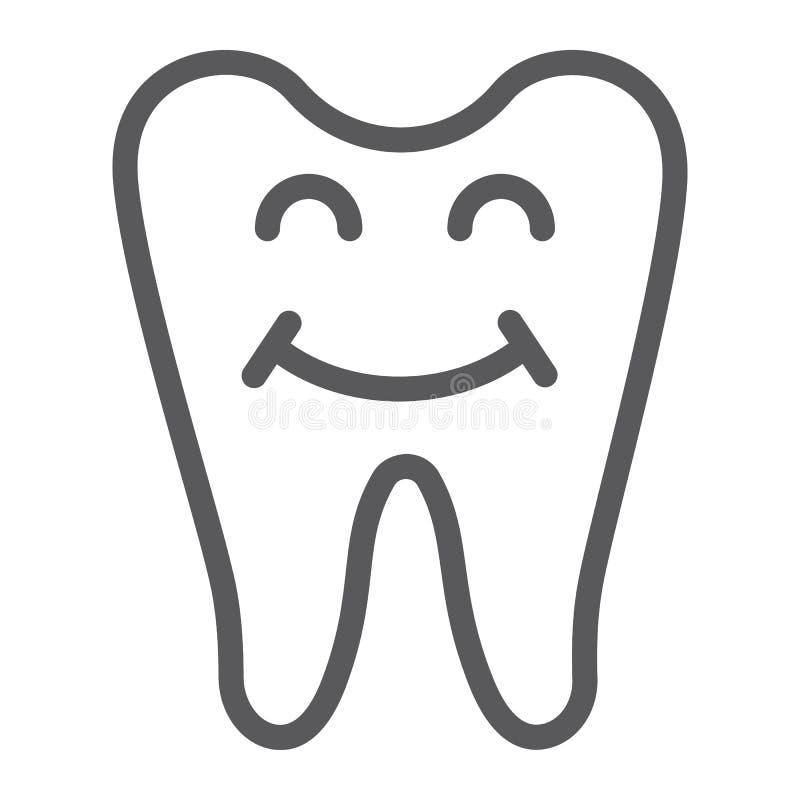 Szczęśliwa ząb linii ikona, zęby i dentystyka, uśmiechnięty zębu znak, wektorowe grafika, liniowy wzór na białym tle ilustracji
