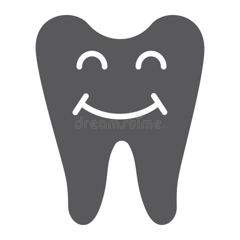 Szczęśliwa zębu glifu ikona, zęby i dentystyka, uśmiechnięty zębu znak, wektorowe grafika, bryła wzór na białym tle ilustracja wektor