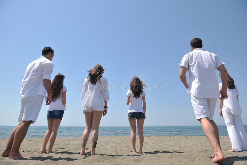 szczęśliwa zabawy plażowa grupa ludzi target1725_1_ obrazy royalty free