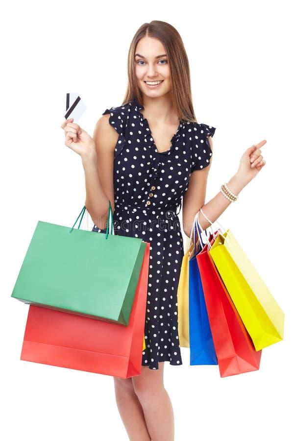 Szczęśliwa zakupy kobieta zdjęcie stock