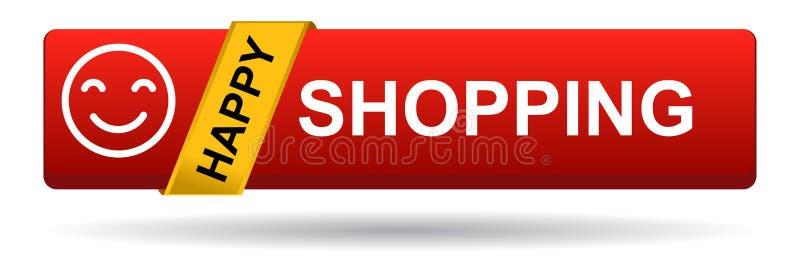 Szczęśliwa zakupy sieci guzika czerwień na bielu royalty ilustracja