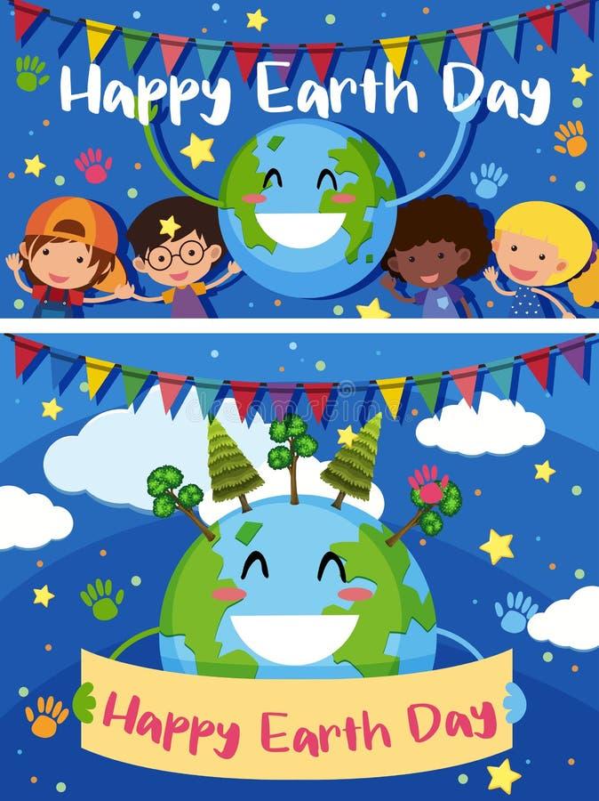 Szczęśliwa Ziemskiego dnia karta z szczęśliwymi dzieciakami na ziemi ilustracji