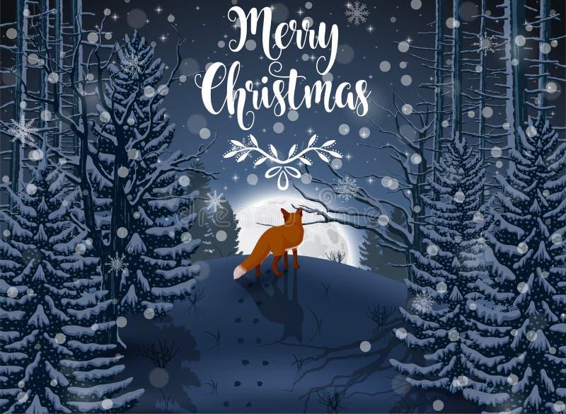 Szczęśliwa zima z wieczór lasu krajobrazem i lisa zwierzęciem ilustracja wektor
