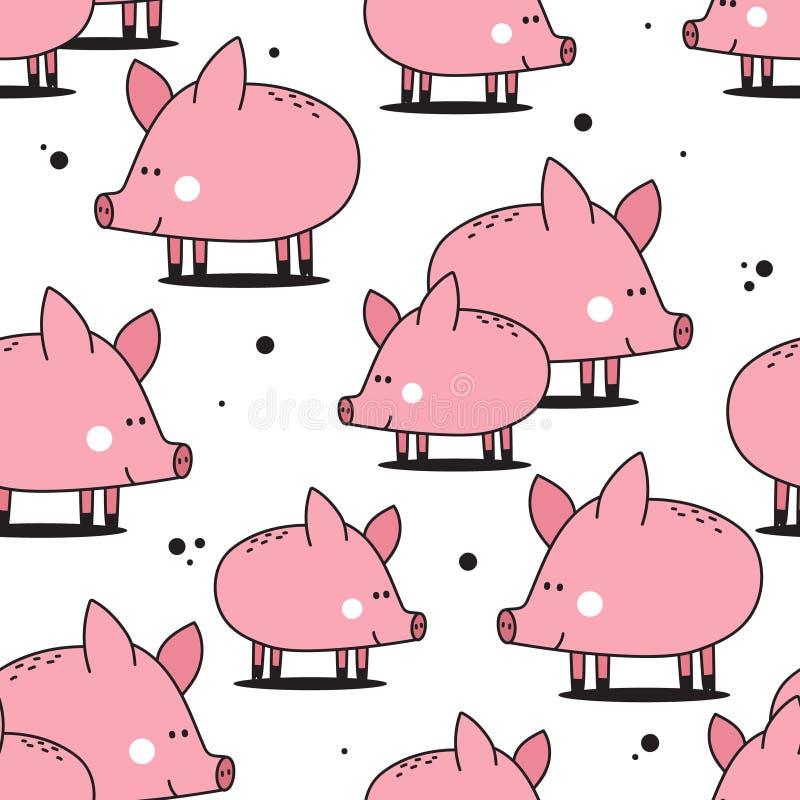 Szczęśliwe świnie, kolorowy bezszwowy wzór ilustracji