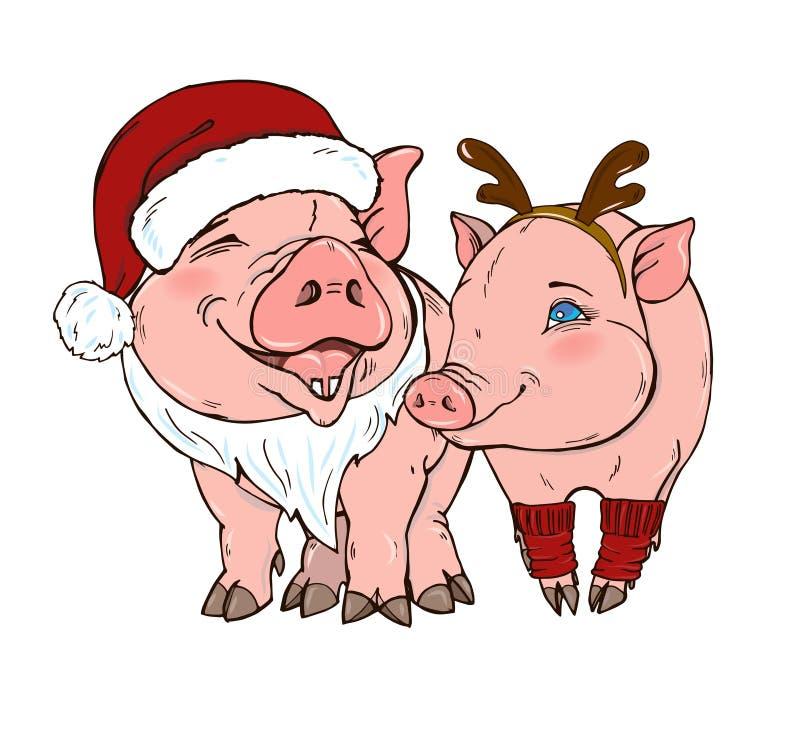 Szczęśliwe świnie w Bożenarodzeniowych kostiumach ilustracja wektor