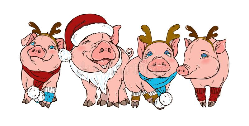 Szczęśliwe świnie w Bożenarodzeniowych kostiumach royalty ilustracja