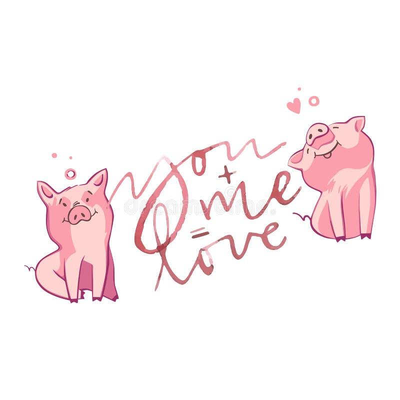 Szczęśliwe świnie z listami miłosnymi, teraźniejszość dla walentynki s dnia na białym tle ilustracja wektor