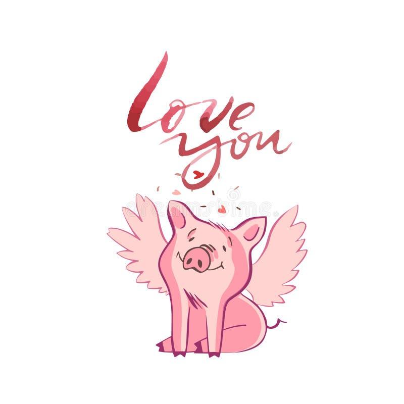 Szczęśliwe świnie z listami miłosnymi, teraźniejszość dla walentynki s dnia na białym tle royalty ilustracja