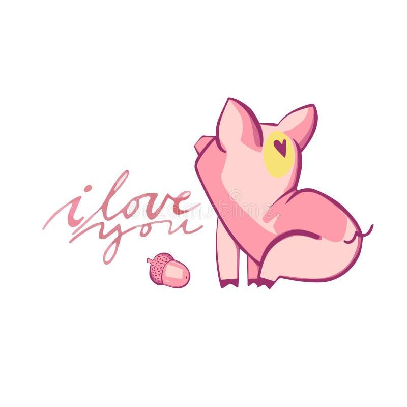 Szczęśliwe świnie z listami miłosnymi, teraźniejszość dla walentynki s dnia na białym tle ilustracji
