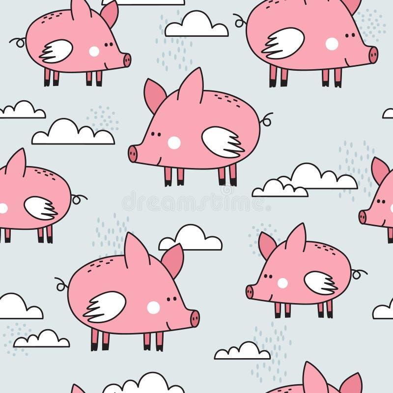 Szczęśliwe świnie z skrzydłami, dekoracyjny śliczny tło Kolorowy bezszwowy wz?r z zwierz?tami, chmury royalty ilustracja