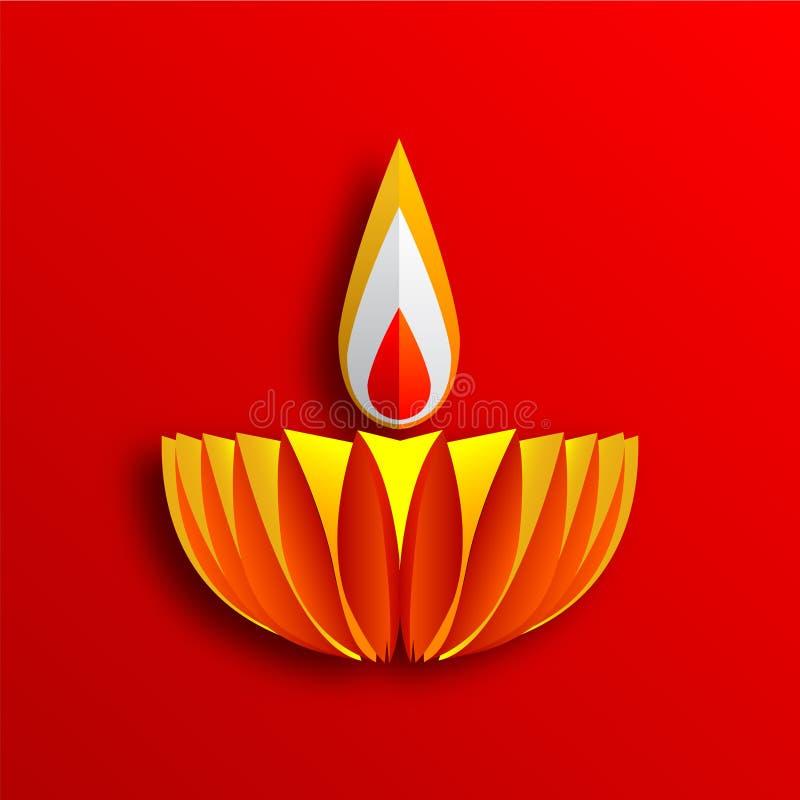 Szczęśliwe Diwali Diya lampy zaświecali podczas diwali świętowania ilustracji