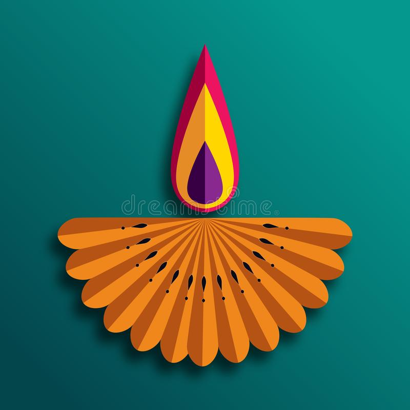 Szczęśliwe Diwali Diya lampy zaświecali podczas diwali świętowania ilustracja wektor
