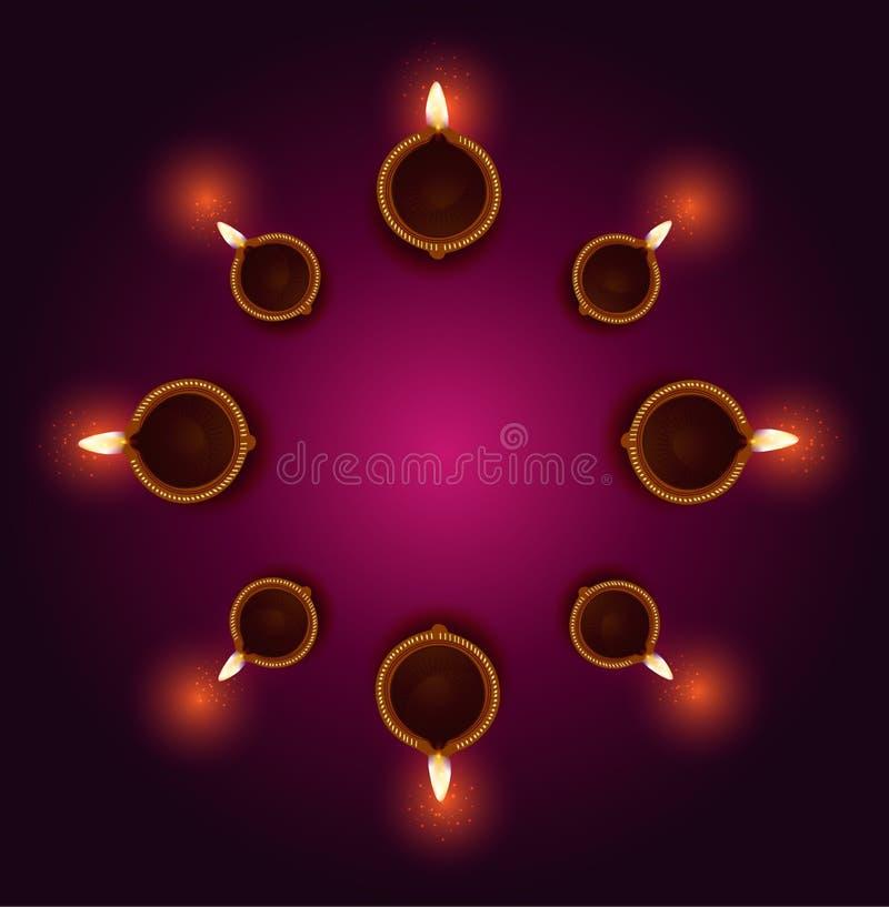 Szczęśliwe Diwali Diya lampy zaświecali podczas diwali świętowania royalty ilustracja