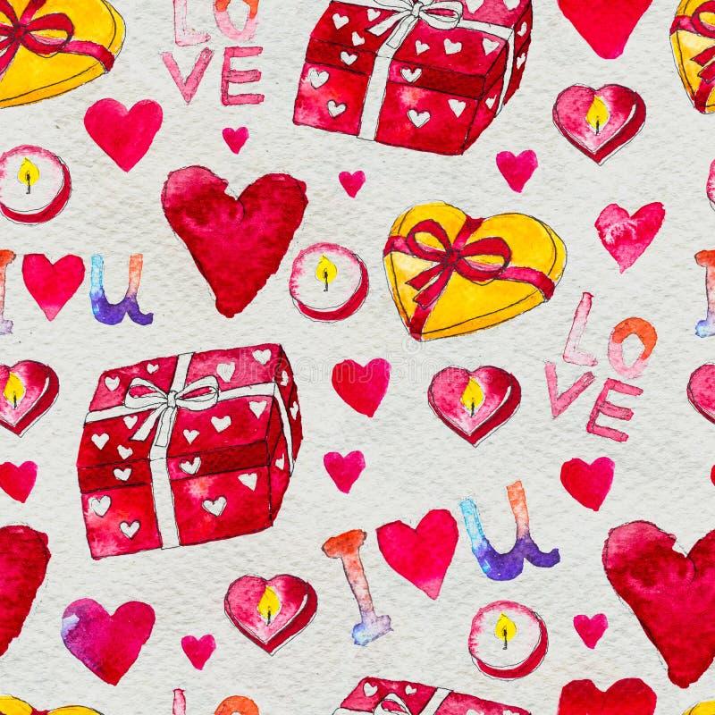 szczęśliwe dni valentines Bezszwowy wzór z czerwonymi akwareli serc prezentami i świeczkami royalty ilustracja