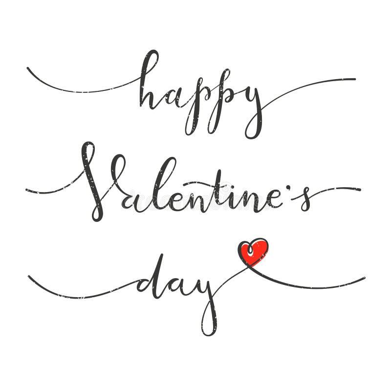 szczęśliwe dni valentines Kartka z pozdrowieniami z ręki literowania rysunkowym projektem royalty ilustracja