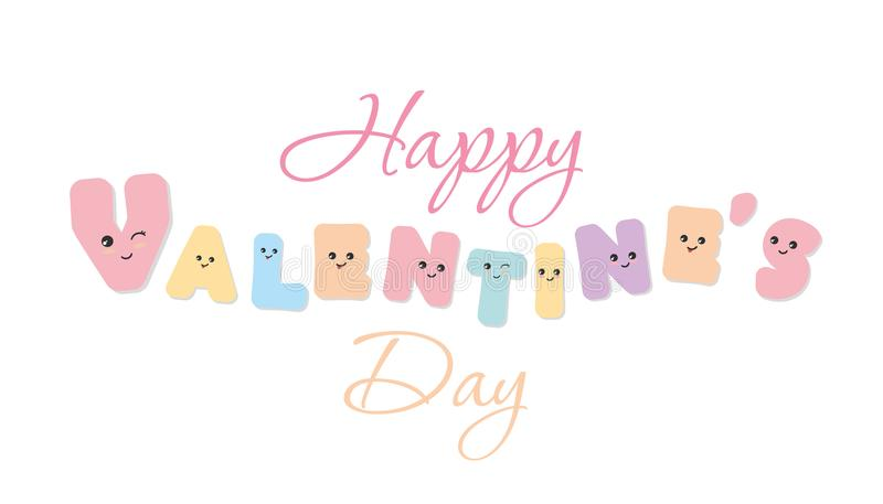 szczęśliwe dni valentines Kawaii śmiali listy Śliczni emoticon majchery odosobniony royalty ilustracja