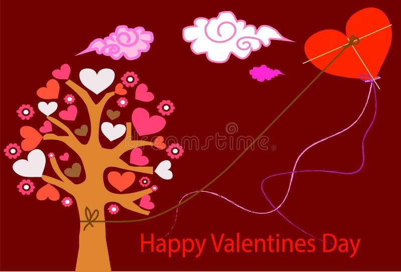 szczęśliwe dni valentines obrazek kartka z pozdrowieniami z mnóstwo sercami na drzewach miłość royalty ilustracja