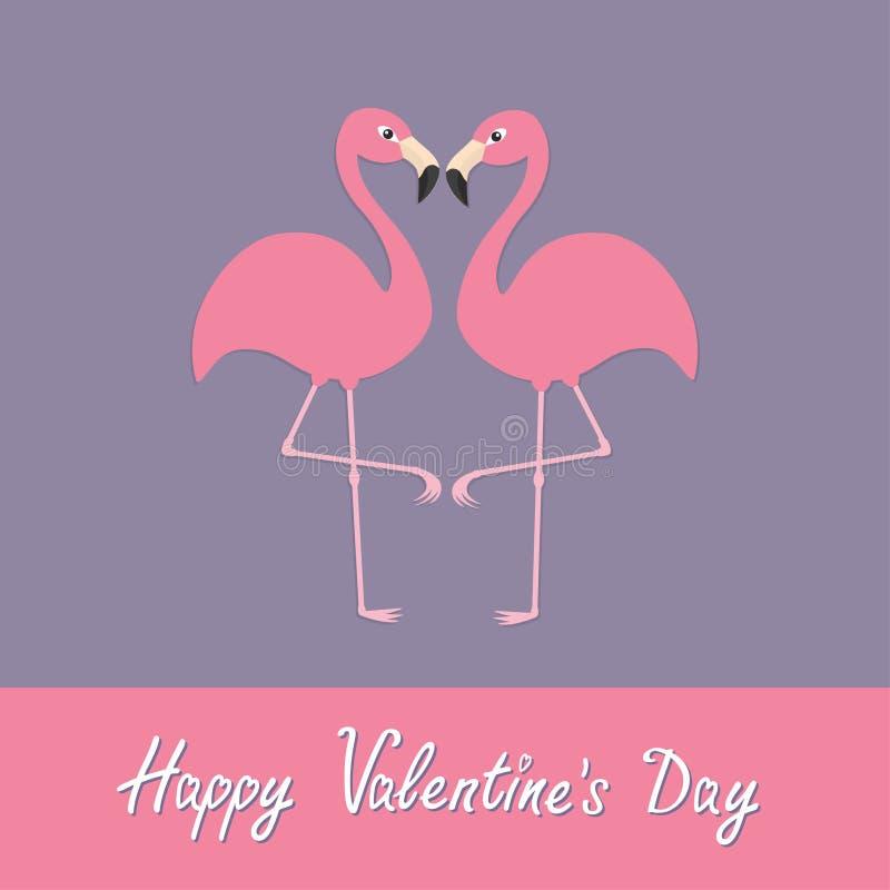 szczęśliwe dni valentines Różowej flaming pary szyi kierowy kształt Egzotyczny tropikalny ptak royalty ilustracja