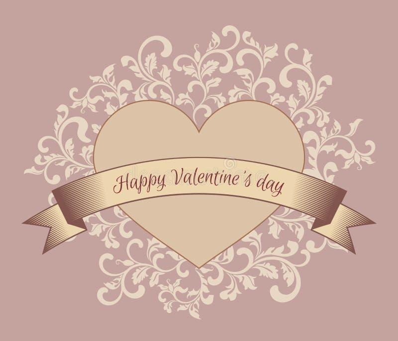szczęśliwe dni valentines Serce z faborkiem Tło z kwiecistym rocznika wzorem ilustracji