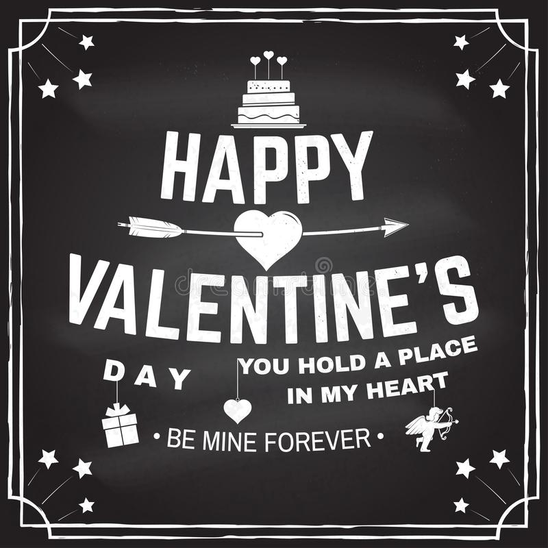 szczęśliwe dni valentines Znaczek, narzuta, odznaka, karta z tortem z strzałami i serce, wektor Rocznik typografii projekt dla ilustracji