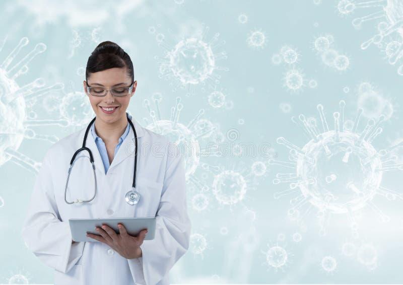 Szczęśliwe doktorskie łapanie notatki z molekuły tłem (kobiet) ilustracja wektor