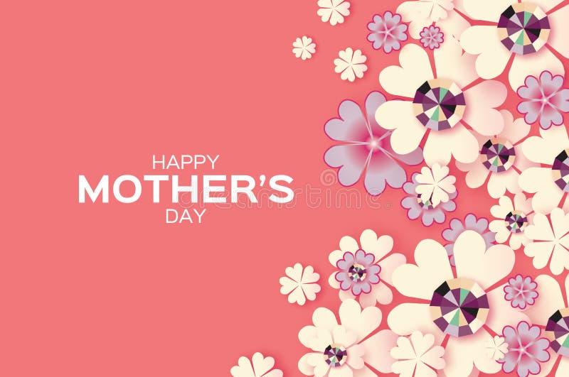 szczęśliwe dzień matki Genialni kamienie Białego papieru Rżnięty kwiat Rhombus rama ilustracji