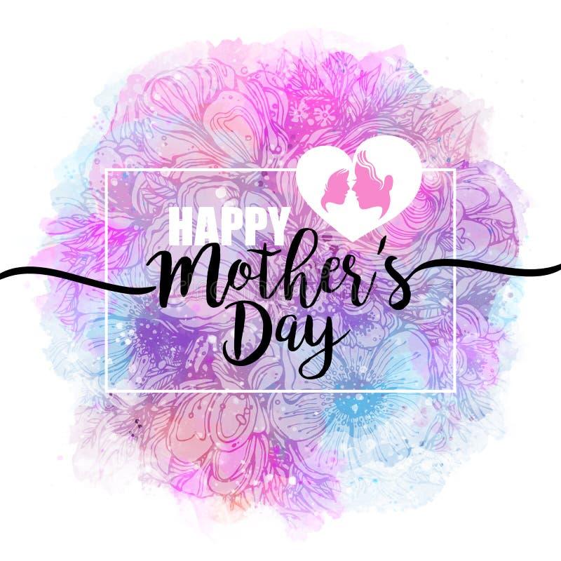 szczęśliwe dzień matki Gratulacje, kobiecy projekt dla menu, ulotka, karta, zaproszenie Inskrypcja na akwareli royalty ilustracja