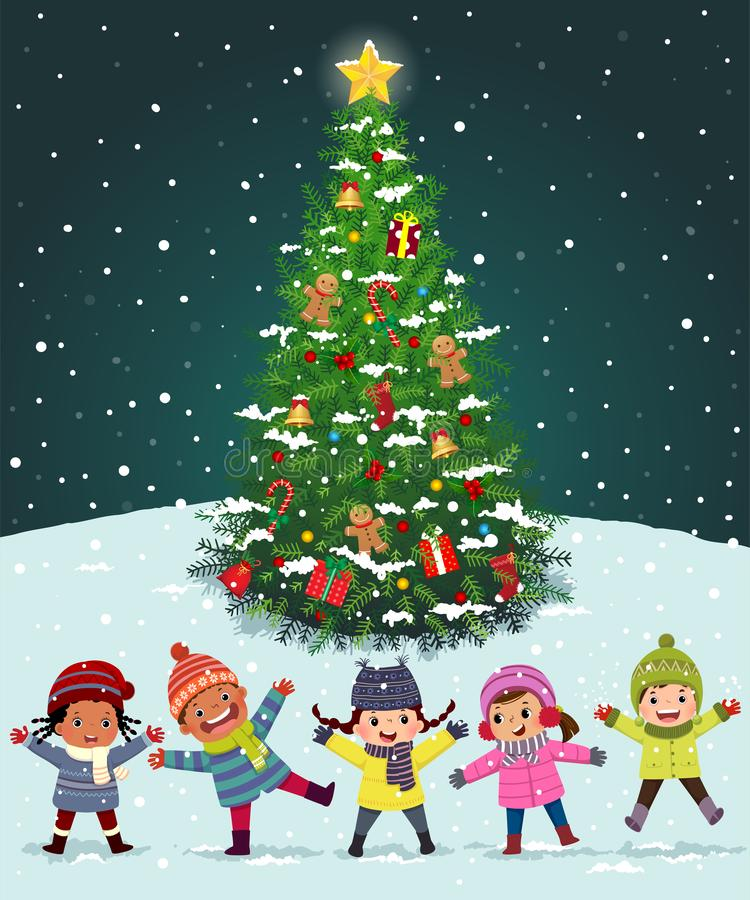 Szczęśliwe dzieci bawiące się niedaleko choinki pod śniegiem Szczęśliwy nowy rok i wesoły projekt kartki świątecznej ilustracji
