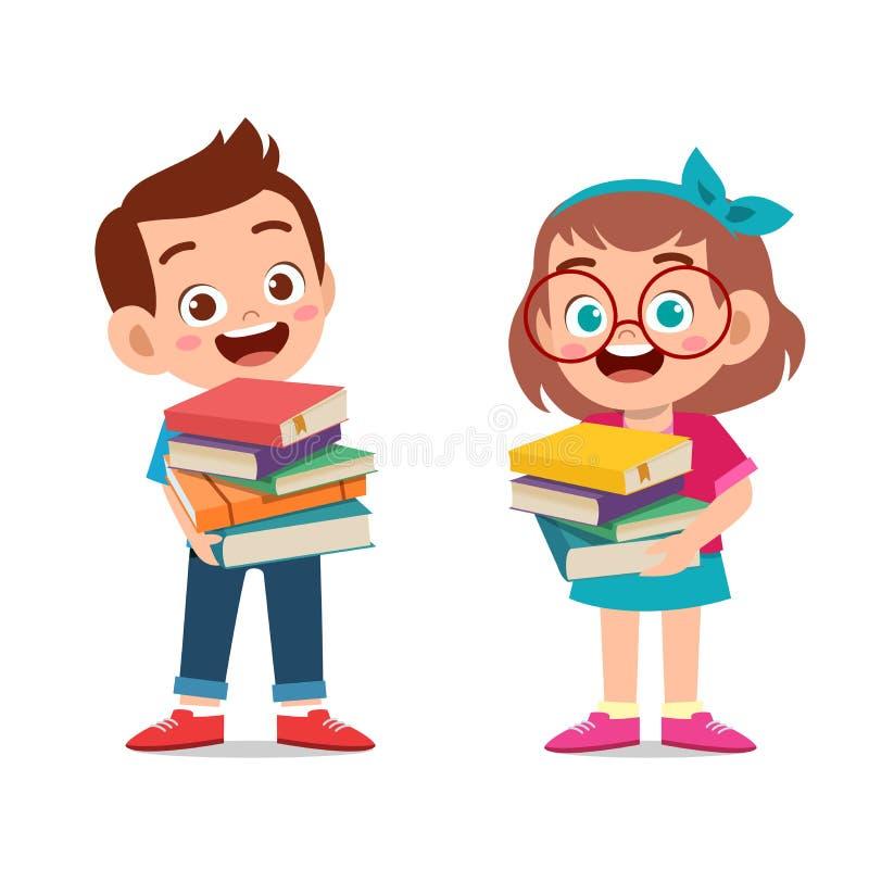 szczęśliwe dzieciaki noszą książki dla dawców ilustracji