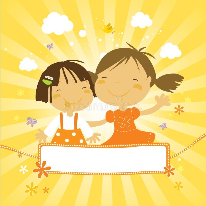 szczęśliwe dzieciaki trochę ilustracja wektor