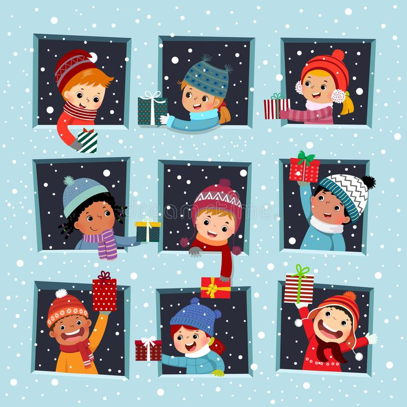 Szczęśliwe dzieciaki w oknie, dające świąteczny prezent przyjacielowi w sezonie zimowym royalty ilustracja