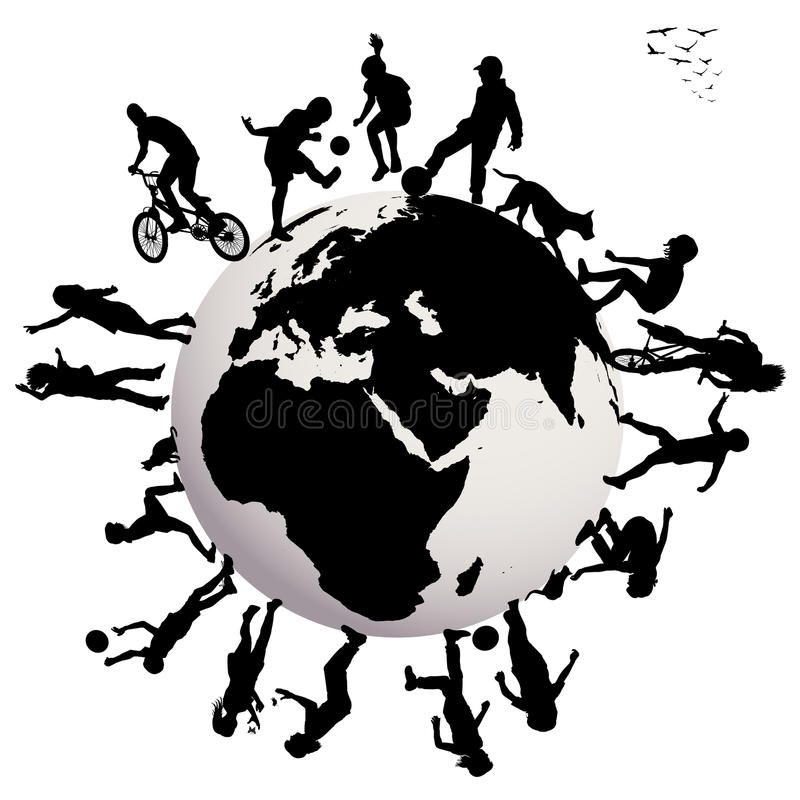 Szczęśliwe dziecko sylwetki bawić się nad Ziemskim glob ilustracja wektor