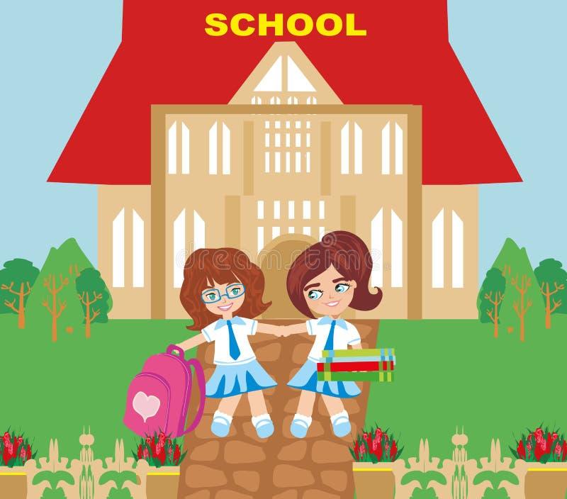 Szczęśliwe dziewczyny iść szkoła royalty ilustracja