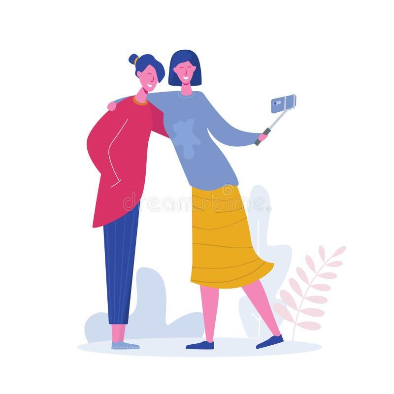 Szczęśliwe dziewczyny trzyma telefon komórkowego Przyjaciele pozuje dla selfie, grupa rado?ni ludzie ono fotografuje P?aska kresk ilustracji