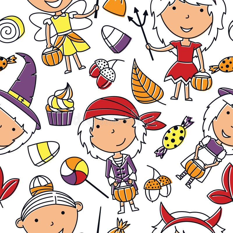 Szczęśliwe dziewczyny w Halloweenowych kostiumach z cukierki bezszwowym wzorem royalty ilustracja